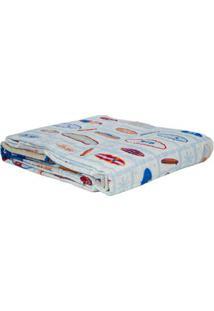 Kit De Colcha Solteiro Com Porta Travesseiro Corttex Azul