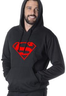 Blusa Moletom Suffix Com Capuz Bolso Canguru Preto Estampado Super Man