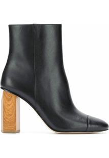Michael Michael Kors Ankle Boot Com Salto De Madeira 90Mm - Preto