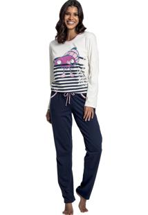 Pijama Recco Comprido De Malha Bege
