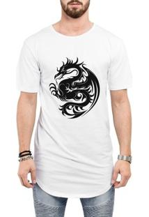 Camiseta Criativa Urbana Long Line Oversized Dragão Tribal - Masculino-Branco