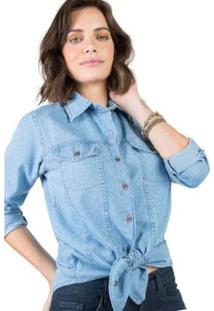 Camisa Estampada Stone Taco Feminina - Feminino-Azul
