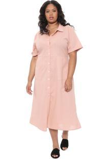 Vestido Chemise Chata De Galocha Para Dafiti Midi Botões Rosa