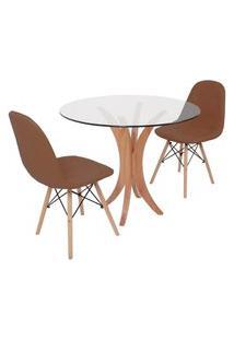 Conjunto Mesa De Jantar Tampo De Vidro 90Cm Com 2 Cadeiras Botonê - Marrom