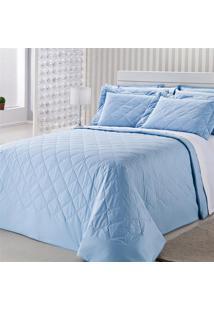 Colcha Royal Comfort Matelasse Percal 233 Fios King Azul Plumasul