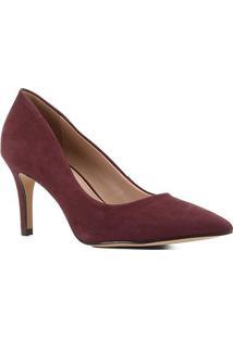 Scarpin Couro Shoestock Salto Médio Nobuck - Feminino-Vinho