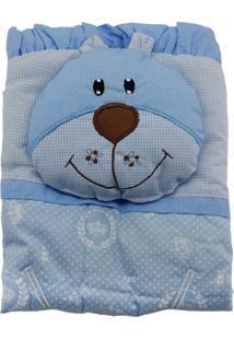 Capa De Carrinho Com Travesseiro Bruna Baby Coroa Branca Azul