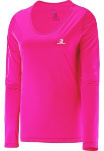 Camiseta Salomon Feminina Salomon Manga Longa Comet Fluo Pink Gg