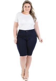 Bermuda Jeans Dumont Plus Size Feminina - Feminino-Azul
