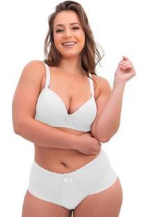 Conjunto De Calcinha E Sutiã Sigh Plus Size Renda Feminino - Feminino-Branco