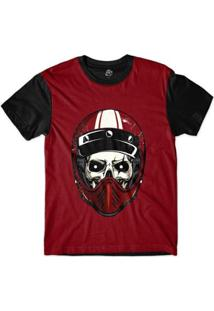 Camiseta Bsc Caveira De Capacete Risco Sublimada - Masculino-Vermelho