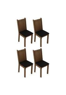 Kit 4 Cadeiras 4290 Madesa Rustic/Preto Rustic