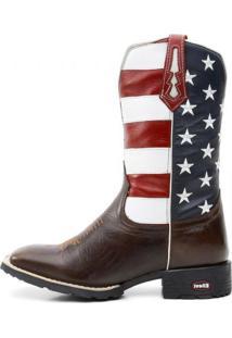 Bota Ellest Texana Bandeira Eua Bico Quadrado