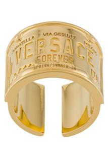 Versace Anel Com Logo Gravado - Dourado