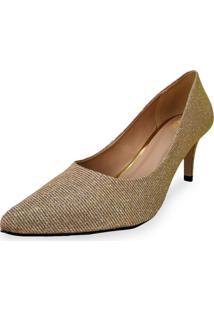 Scarpin Liszy Bel Glitter Dourada