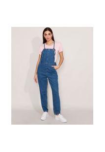 Macacão Baggy Jeans Com Ilhoses Azul Médio