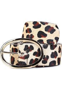 Cinto Couro Shoestock Fivela Oval Feminino - Feminino-Preto+Caramelo