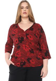 Blusa Cativa Plus Floral Vermelho/Preta