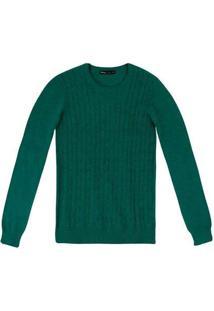 Blusão Feminino Básico Em Tricô Com Textura Verde