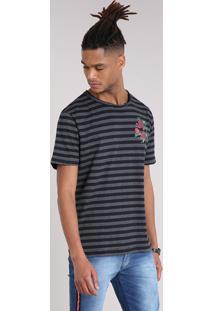Camiseta Masculina Listrada Com Estampa De Rosas Manga Curta Gola Careca Cinza Mescla