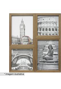 Painel Para 4 Fotos- Bege- 41X35X6Cm- Kaposkapos