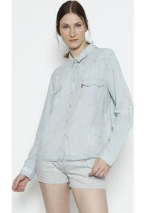 Camisa Jeans Destroyed Com Linho - Azul Clarolevis