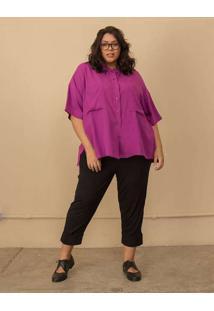 Camisa Quadrada Com Bolsos Plus Size Roxo-Gg Roxo
