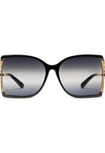 Gucci Eyewear Óculos De Sol Oversized - Preto