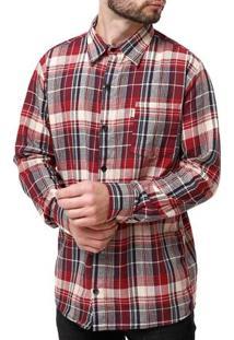 Camisa Manga Longa Masculina Flanela Bege/Marrom