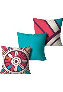 Kit 3 Capas Para Almofadas Decorativas Love Decor Mandalas Top Multicolorido Azul
