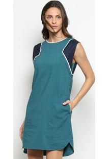 Vestido Com Recortes & Linho- Verde Petrã³Leo & Azul Marilacoste