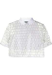 Philipp Plein Blusa Cropped Com Estampa De Caveira - Branco