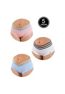 Kit 5 Calcinha Box Short Bella Fiore Modas Arco Íris