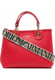 Emporio Armani Bosa Tote Granulada Com Estampa De Logo - Vermelho