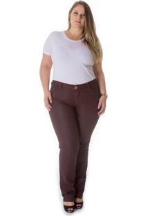 Calça Plus Size - Confidencial Extra Cigarrete Jeans Sarja Marrom