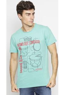 "Camiseta ""Ritmo Que Contagia""- Verde & Preta- Coca-Ccoca-Cola"