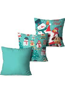 Kit 3 Capas Para Almofadas Love Decor Decorativas Feliz Natal