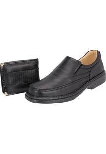 Sapato Casual Galway Confort Carteira Brinde 2001 Preto