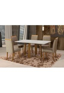 Conjunto De Mesa De Jantar Com 6 Cadeiras E Tampo De Madeira Maciça Espanha Iii Suede Marrom Médio E Off White