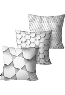 Kit Com 3 Capas Para Almofadas Pump Up Decorativas Cinza 3D Formas 45X45Cm
