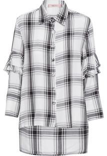 Camisa Feminina Babados Xadrez - Preto E Branco