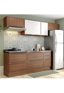 Cozinha Compacta 8 Portas 4 Gavetas 5456R Nogueira/Branco - Multimóveis