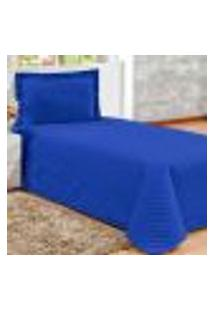 Conjunto Cobreleito Solteiro Com 1 Fronha Clean Azul