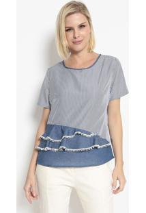 Blusa Listrada Com Babados- Branca & Azul- Bhlbhl
