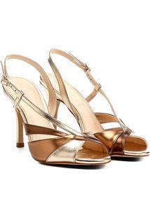 Sandália Shoestock Salto Fino Alto Ondas Feminina - Feminino-Bronze