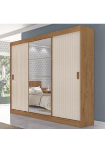 Guarda-Roupa Casal Sorento 3 Portas 3 Gavetas Com Espelho Flex Canelato Rústico/3D Natura Off White - Atualle Móveis