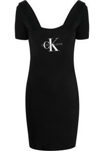 Calvin Klein Jeans Vestido Com Estampa De Logo - Preto