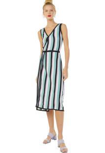 Vestido Tricot Transpassado Listras