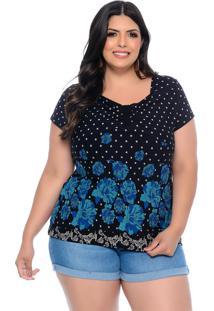 Blusa Plus Size Barrieli Rougeant Floral E Poã¡ Decote Franzido Preto - Preto - Feminino - Dafiti