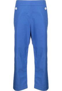 Jejia Calça Cropped Cintura Alta De Algodão - Azul